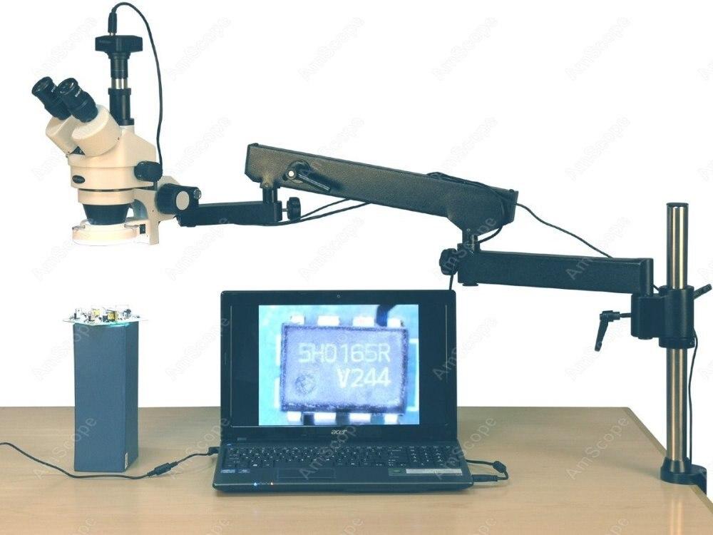Шарнирный Микроскоп-AmScope поставки 3.5X-90X 144 светодио дный шарнирный Arm Zoom стерео микроскоп + 10MP цифровая камера