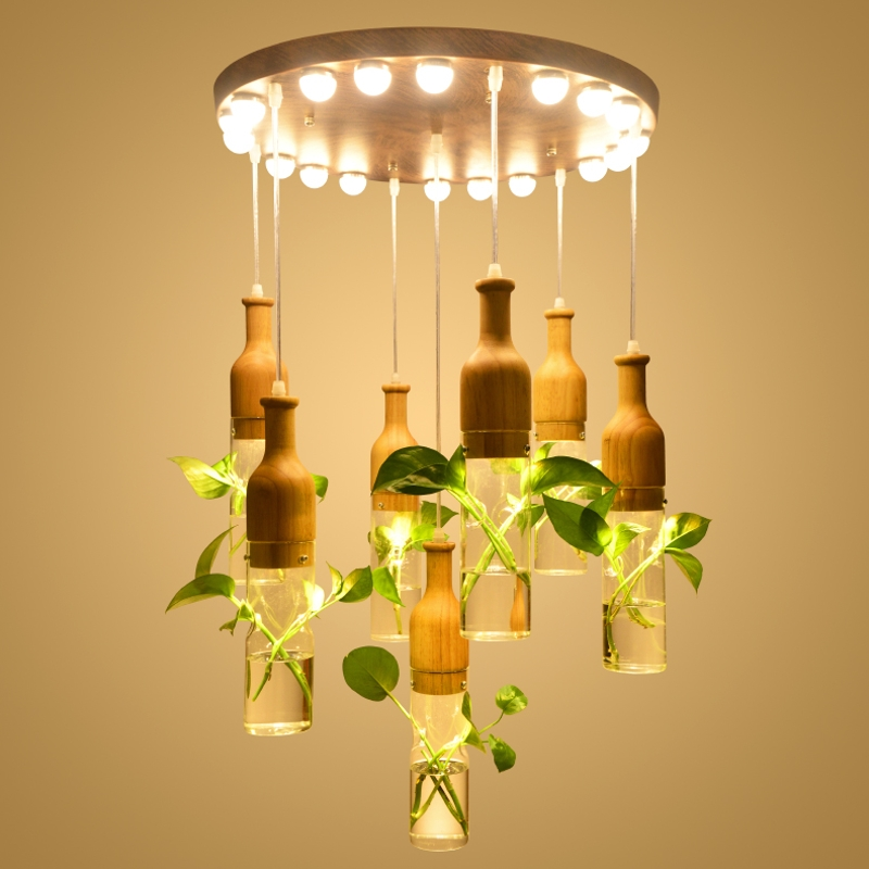 Creative Bar Restaurant Chandelier Restaurant Art Cafe Shop Hotel Lobby Bottle Glass ZL15 ya741 contemporary and contracted creative personality retro art glass chandelier cafe restaurant study lamps act the role of milan