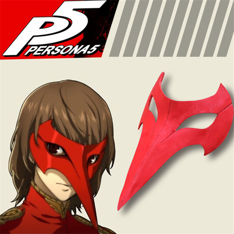 Takerlama Persona 5 Goro Akechi EVA Masque Cosplay Halloween Party Props Masque À La Main Rouge Oiseau Bec Type Masque