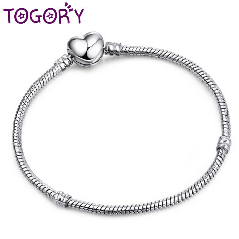ebd0e86c01421 TOGORY Authentic Silver Plated Snake Chain Pandora Bracelets & Bangles With  DIY Charm Bracelet For European Beads DIY Jewelry