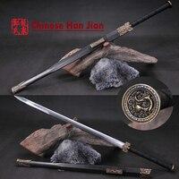 Frío de Acero Chino Han Dynastic Espada Recta Mano de Bronce Antigua Fengshui Decoración del Hogar Artesanía Del Metal