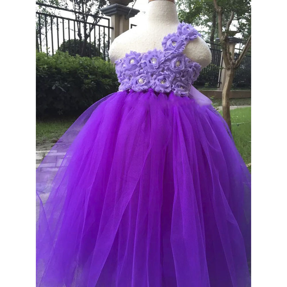купить Grapes Orchid Shabby Chic Flower Girl Tutu Dress Little Kids Wedding Birthday Pageant Tulle Tutu Dresses For Princess Girls дешево