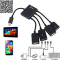 Hot conector spliter 4 port hub usb otg micro usb power carregamento cabo hub otg para smartphones tablet pc computador