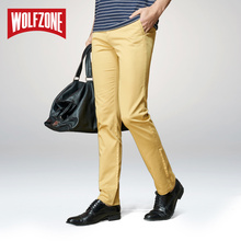 WOLF ZONE Casual Pants Classic Slim Fit Dress Flat Suit Mens Trousers Formal Cotton
