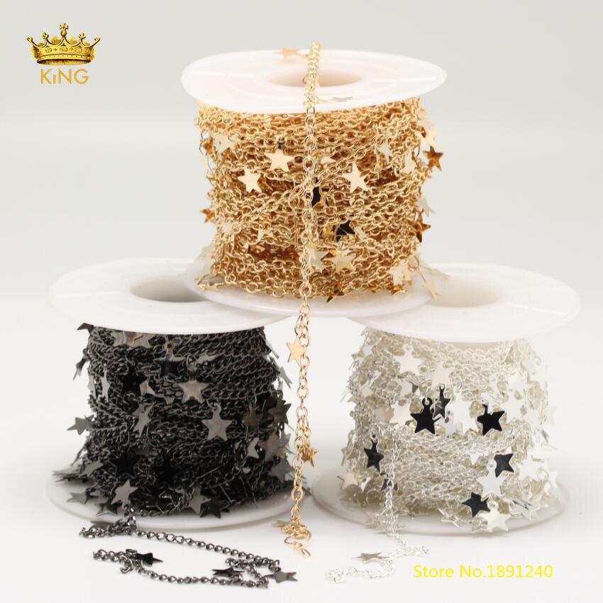 Fashion Chains DIY Star Chokers,6mm Star Copper Chains Plated K Gold/Black Gunmetal/Silver Healing Chains Bracelet 5meters ZJ142 накладной светильник nowodvorski alice gray 6812
