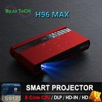 ByJoTeCH H96 MAX портативный проектор светодиодный S912 Android 8 Core Процессор Full HD 4 K 200 дюйма WI FI 5G bluetooth динамик штатив подарок