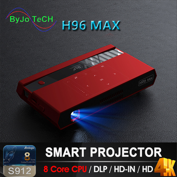 ByJoTeCH H96 MAX  DLP Portable Projector LED S912 Android 8 Core CPU Full HD 4K 200 inch WIFI 5G Bluetooth speaker tripod gift
