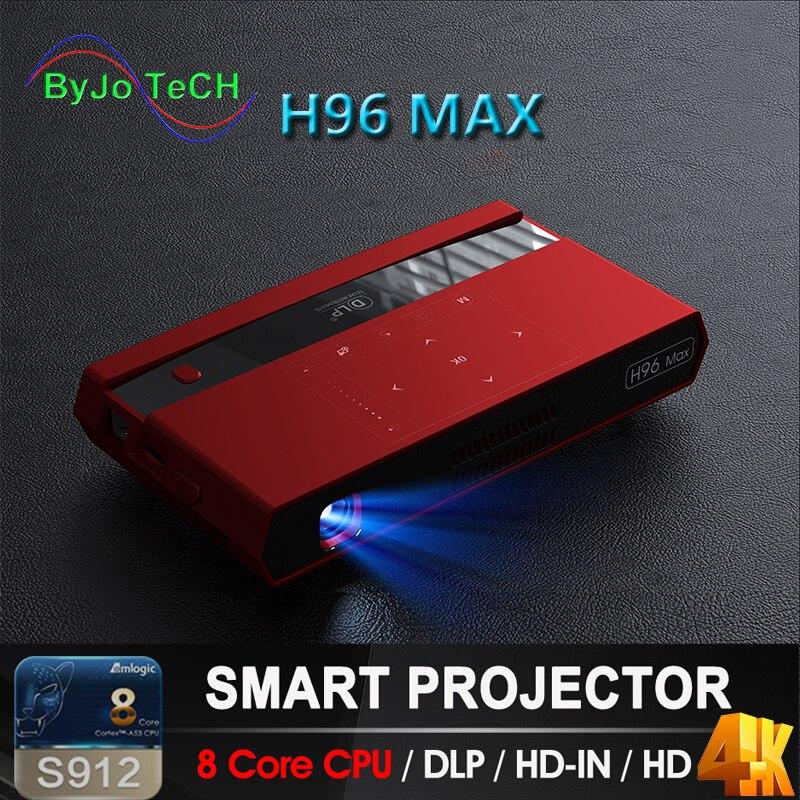 ByJoTeCH H96 MAX DLP projecteur Portable LED S912 Android 8 Core CPU Full HD 4 K 200 pouces WIFI 5G Bluetooth haut-parleur trépied cadeau