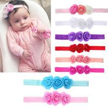 Цветочная повязка на голову для новорожденных, оголовье для фотосессии, 3D цветочное оголовье для девочек, тюрбан, повязки с узелком, детские головные уборы, аксессуары для волос