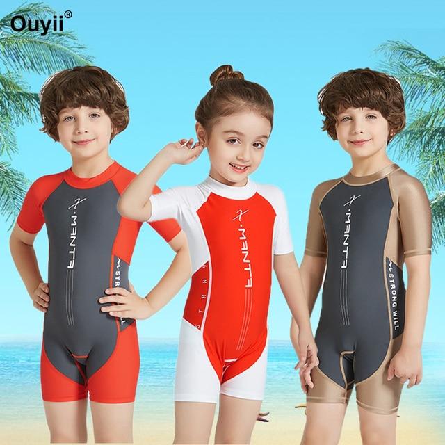 a77e2719c14f8 Kids Swimsuit Rash Guards Surfing Suit Short Sleeve Wetsuit One Piece  Bathing Suit Children Sport Swimwear Anti-UV Diving Suit