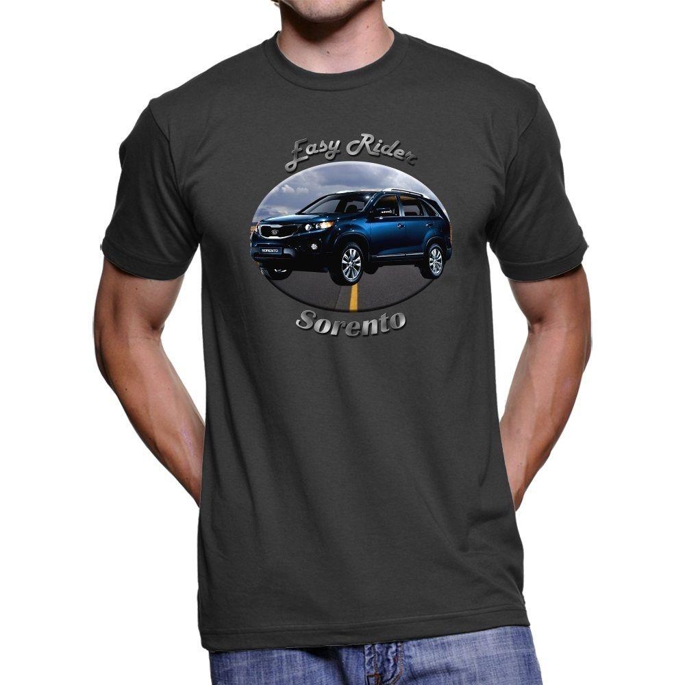 2018 New Summer Casual Men Tee Shirt Kia Sorento Easy Rider Men`s Dark T-Shirt