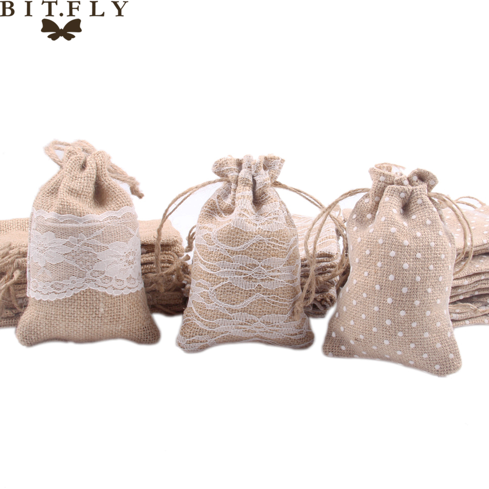 BIT.FLY (10x15cm)Rustic Wedding Decoration Nature Jute Lace Burlap Gift Bag Home Mini Drawstring Storage Bag Christmas Decor