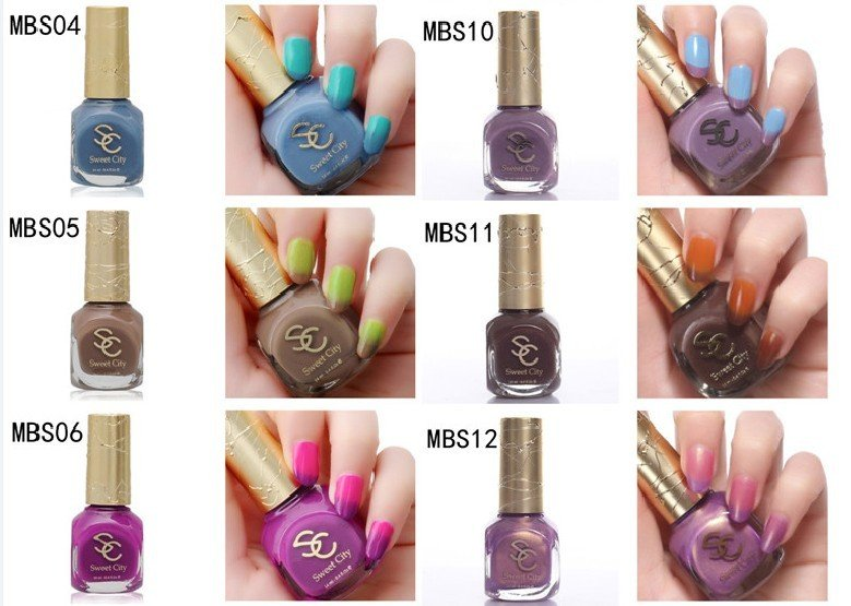 Free shipping Changing Temperature Nail Polish 12 Colors Different ...