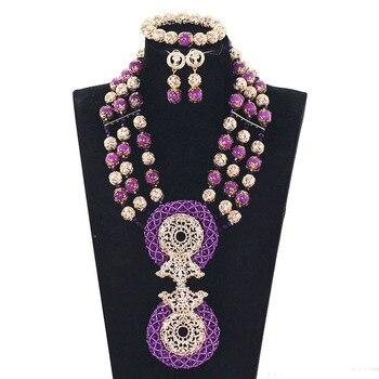 Purple Coral Bead African Wedding Jewelry Sets Dubai Gold Chunky Bib Necklace Set Traditional Nigerian Wedding Beads Gift WE144