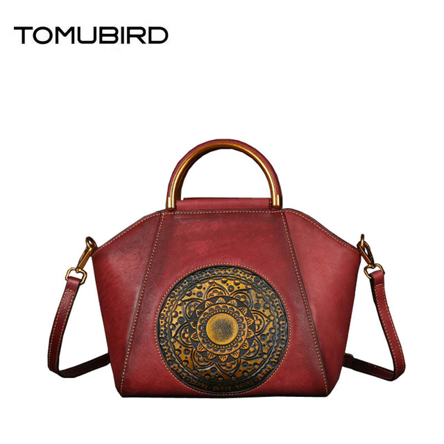 36bea74b1 2018 new totem embossed hand-painted personalized leather handbag First  layer cowhide high-grade vintage color hand bag