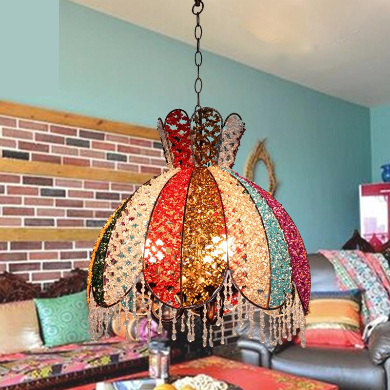 DIY Antique Art Chandeliers wedding light for Dining Room Creative colorful Lighting Glass Chandelier Decoration Marriage lamp