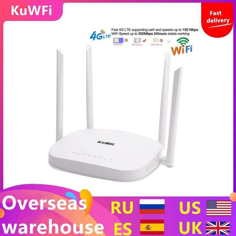 KuWFi 4G LTE Wifi Router 300Mbps 3G/4G CPE Roteador Sem Fio com Slot Para Cartão Sim apoio 4G para LAN Com 4pcs Antenas até os usuários 32