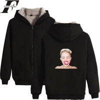 Miley Cyrus Fashion Sweatshirt Zipper Hoodies Kpop Warm Thicken Winter Hoodies Women/Men Clothes