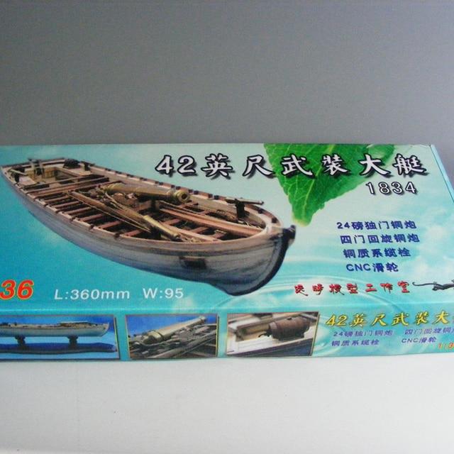 Wooden Ship Models Kits 3d Laser Cut Model-Wood-Boats Train Hobby Scale 1/36 Model-Ship-Assembly Diy 42 Ft Armed Longboats 1834