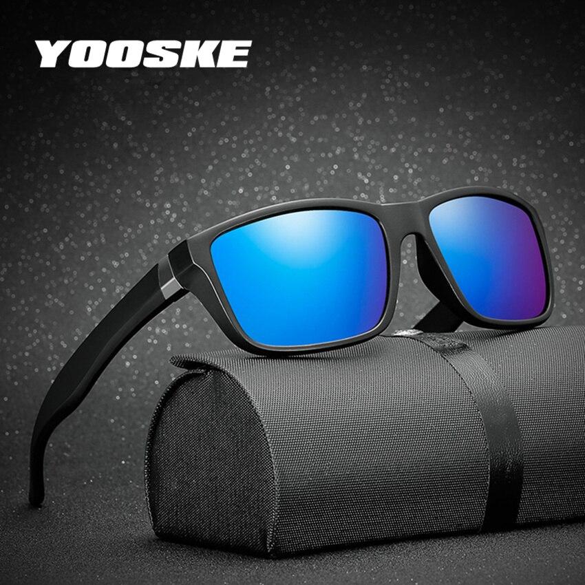 YOOSKE Men Glasses HD Polarized Lens Sunglasses Men Brand Polarized Sun glasses Vintage Matte Black Frame Driving Eyeglasses