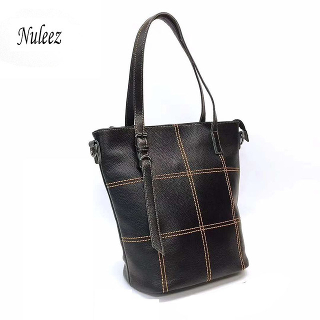Genuine cowhide  leather tote-bag women travel bag classic leisure style fret large capacity  2018 Nuleez