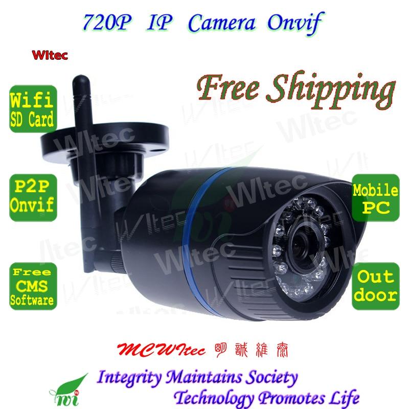 imágenes para Soporte PARA Tarjetas SD WIFI 720 P Bullet IR Al Aire Libre cámara de Seguridad ONVIF Mini P2P IP Cam Visión nocturna IR Cut Filtro Lente de 2MP IPC