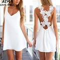 2017 New Fahion Summer Female White Lace Halter Sleeveless Deep V Dress Women Temperament Mini A-line Dresses OL Style S-XL