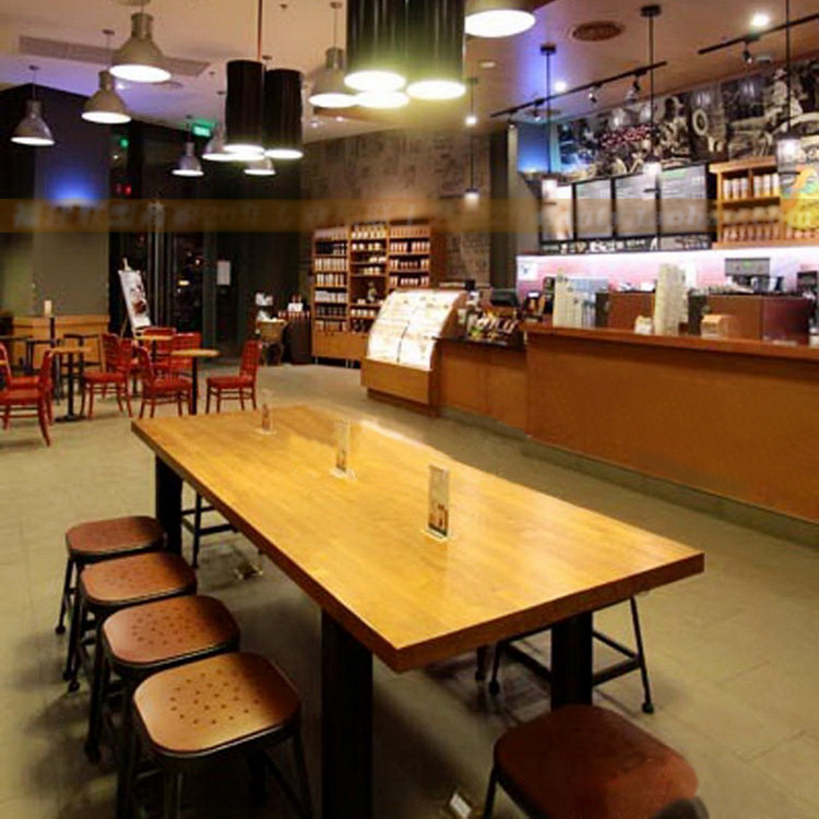 American Country Wood Dining Table Long Table Restaurant Starbucks - Long cafe table