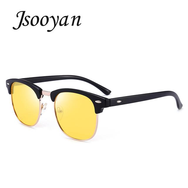 Jsooyan Men's Polarized Sunglasses, Round, Plastic Frame, Classic Retro Night Vision Driving Eyewear