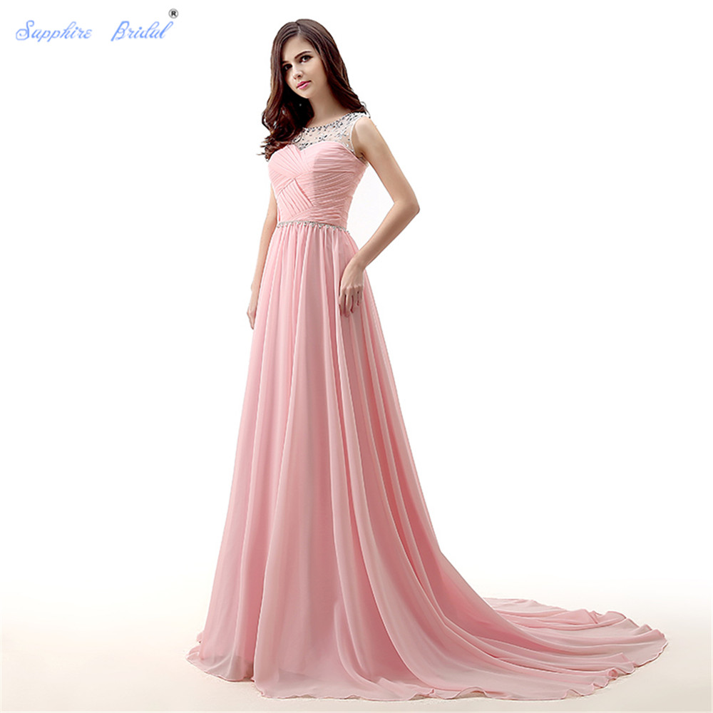 Sapphire Bridal Hot Sale 2018 Chiffon Long A Line Party Gowns Pink Beaded   Bridesmaid     Dress
