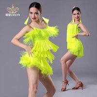 Girls adult Modern Ballroom Latin Dance Dress tassel Fringe Salsa Tango Dance Wear Black Performance Stage Wear