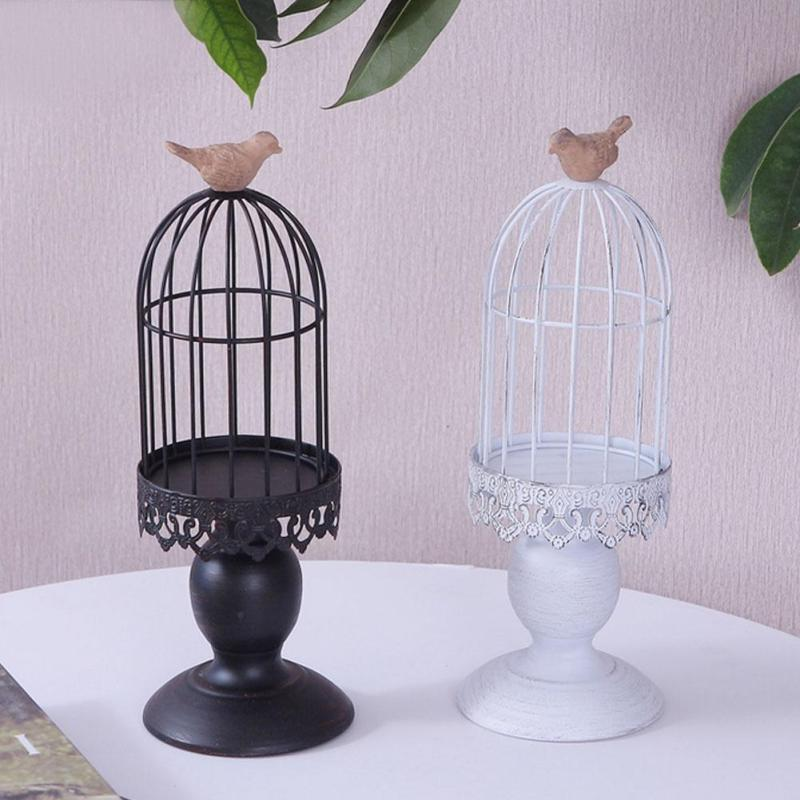 Vintage Moroccan Lantern Hollow Bird Cage Tealight Candlestick Votive <font><b>Candle</b></font> Holder Metal Craft Ornament Wedding Decor