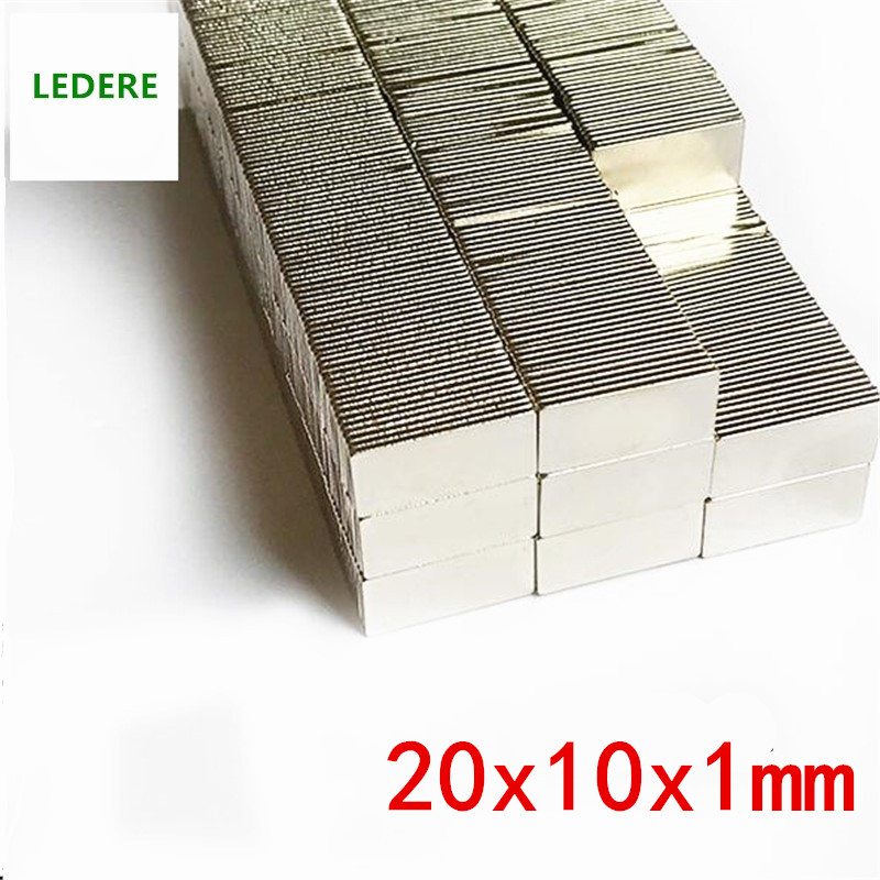 LEDERE 20/50PCS Magnet 20x10x1 N35 Super Strong Block Neodymium Magnets 20*10*1mm Block Strong Rare Earth Magnet 20mmx10x1mm цена