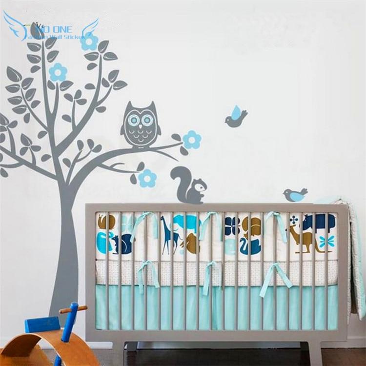 doprava zdarma Přizpůsobené jméno Owl Tree Wall Decal Tree Samolepky na zeď s ptáky Veverky Dětská školka Ložnice Dekor