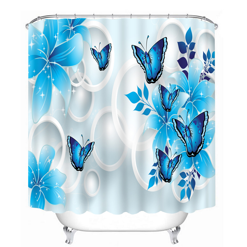 Shower Curtains 3D Circle Purple Flowers And Butterfly Pattern Bathroom Curtains Waterproof Thicken Bath Curtain Customizable