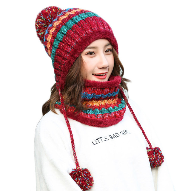6dc4ecf12a412 Women Plus Velvet Knitted Hat Scarf Set Autumn Winter Thick Beanie Baggy  Girls Warm Fleece Ski Cap Fashion Neckerchief Scarves
