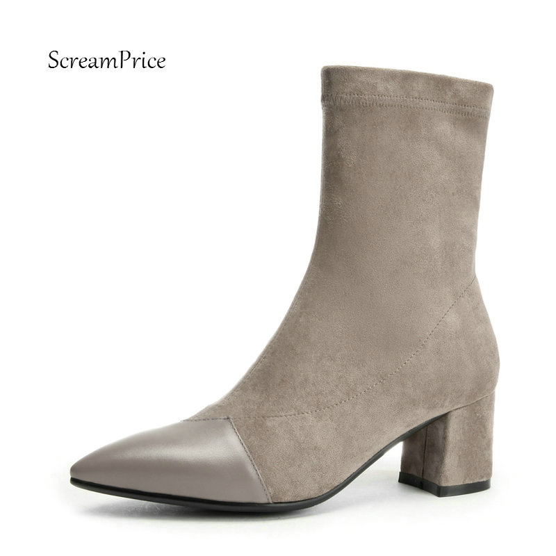 Ladies Genuine Leather Comfort Square Heel Ankle Boots Fashion Zipper Pointed Toe Women Fall Winter Bootie Black Gray Pink цены онлайн