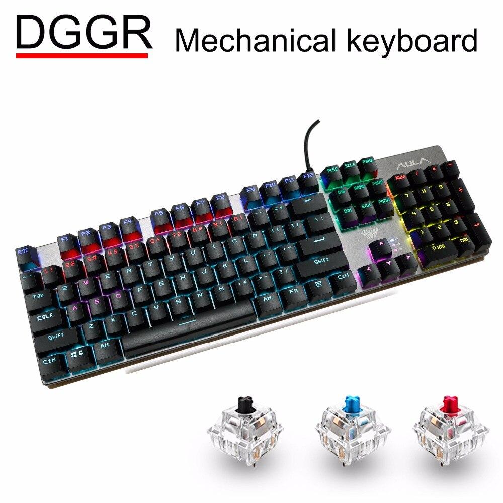 Clavier mécanique de jeu DGGR 104 LED de mélange de touches rétro-éclairé noir bleu rouge commutateur USB filaire Gamer claviers russe espagnol pour pc