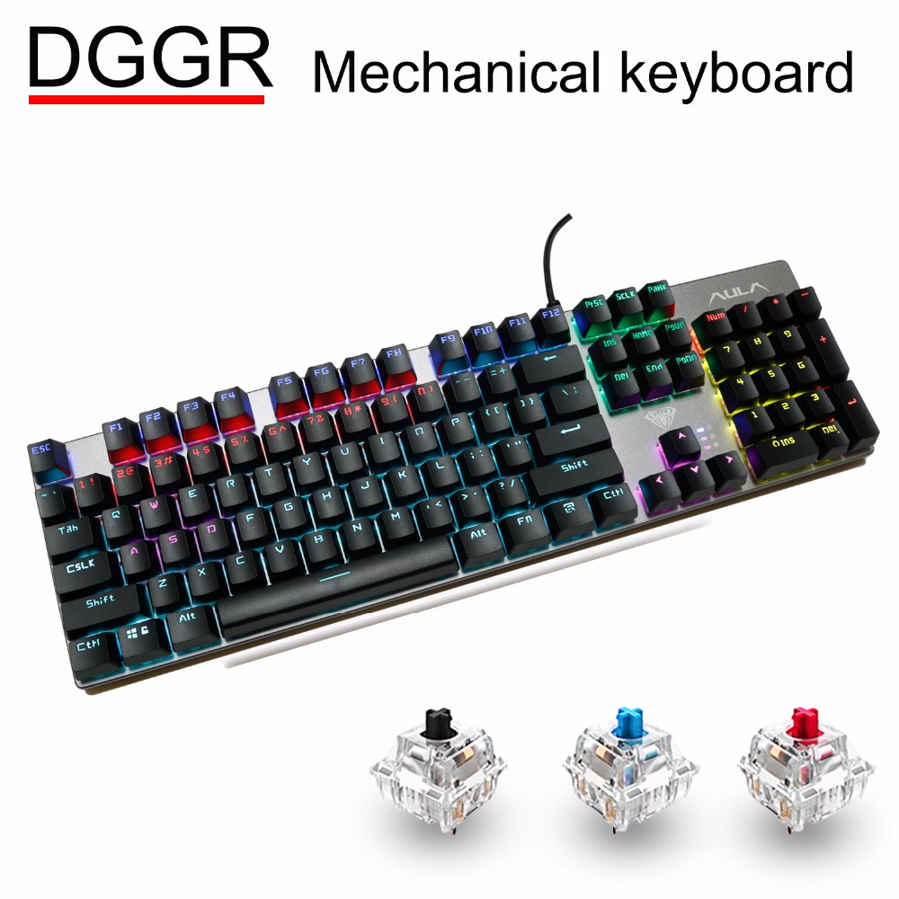 DGGR Gaming Mechanical Keyboard 104 Key MIX LED Backlit Black Blue Red Switch USB Wired Gamer Keyboards Russian Spanish For Pc