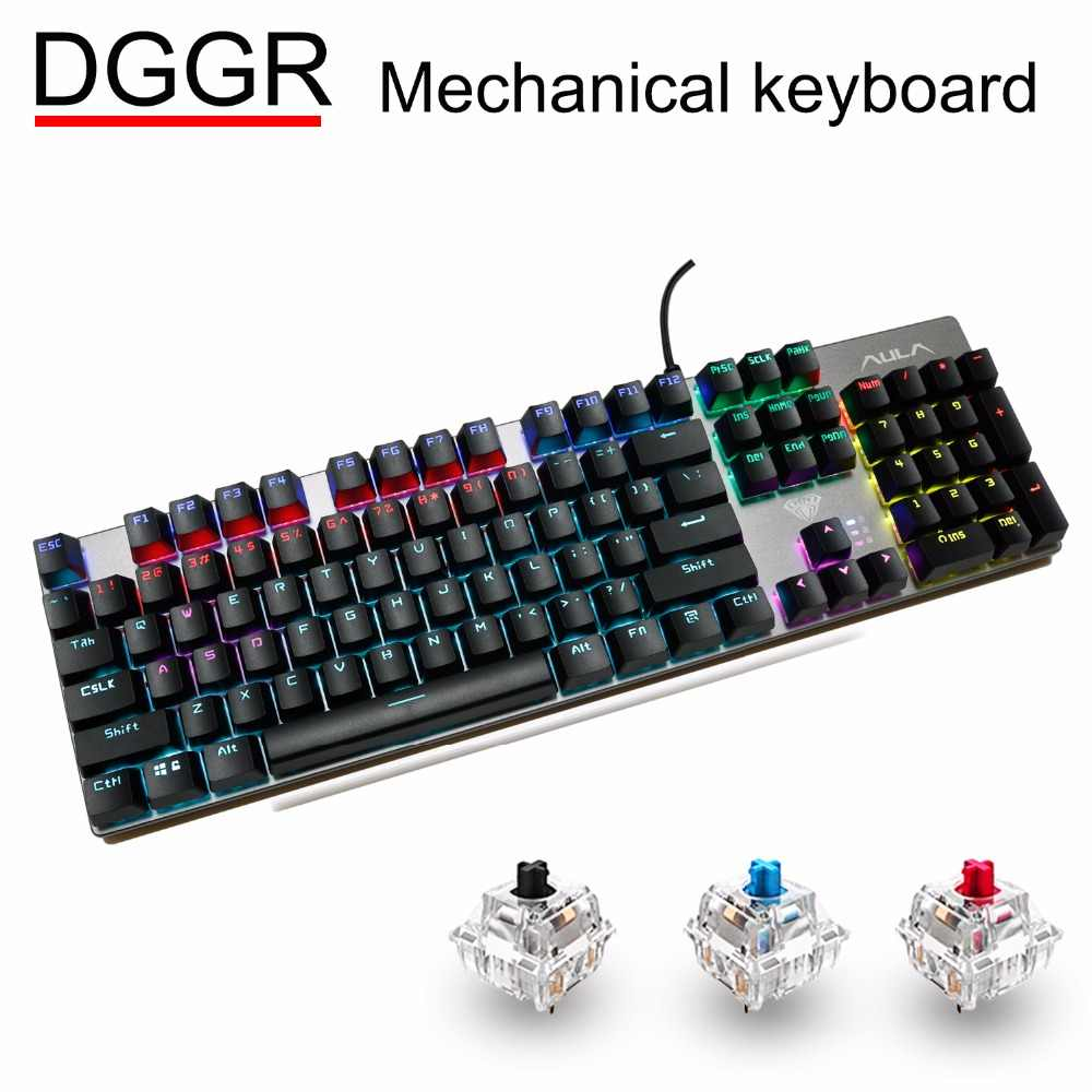 0b54e92cb01 DGGR Gaming Mechanical Keyboard 104 key MIX LED Backlit Black Blue Red  Switch USB Wired Gamer