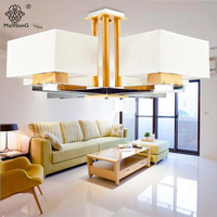 Nordic Style Modern Pendant Lights Wooden Fabric Lamp Shade E27 Bulb 2 Heads 4 Heads 6