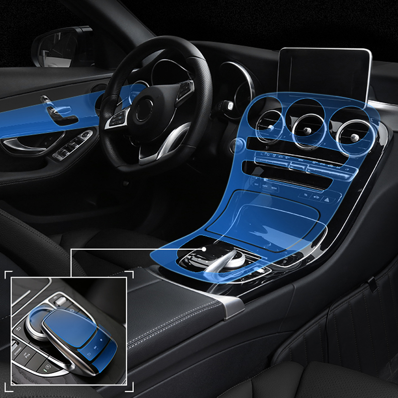 TPU Stickers For Mercedes Benz C Class C200 Interior Invisible Protective Film Center Console Control Panel Car-Styling