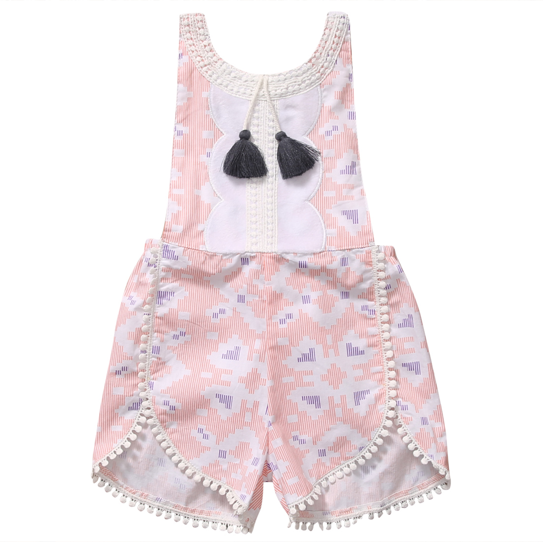 2017 Summer Toddler Baby Girl Sleeveless Strappy Floral Ponk Romper Tassel Jumper Jumpsuit Sunsuit Clothes