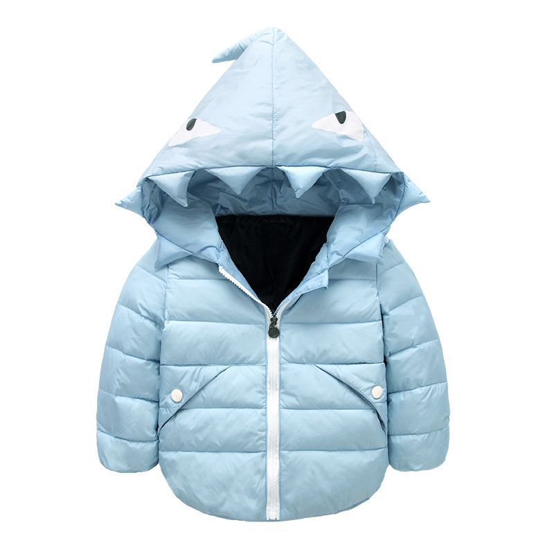 ФОТО Fashion Winter Children Boys Jackets Cartoon Tyrannosaurus Coat Kids Outerwear Baby Boys/Girls Down Jacket Infant Clothes T0216