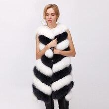 CNEGOVIK 2017 winter new real fur vest fox fur vest natural arctic fox vest White fox 80cm