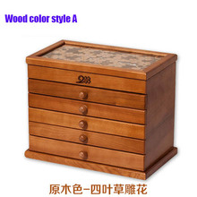 6 layers large wooden jewelry box jewelry necklace earrings high-end European retro Princess box makeup organizer 26*19*20.7CM