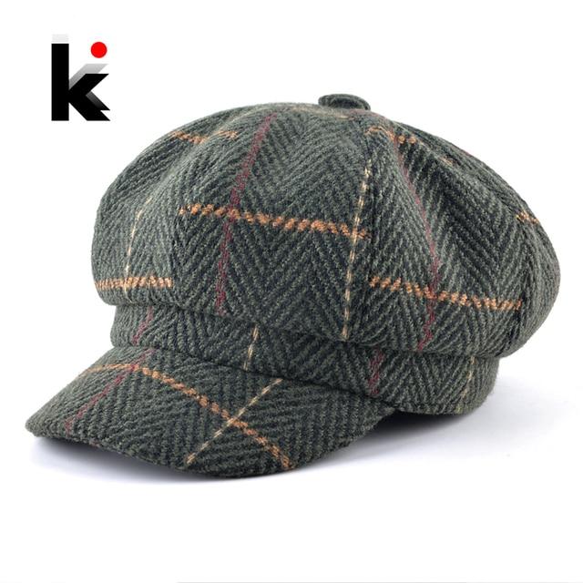 Women s Newsboy Cap Ladies Autumn Winter Fashion Octagonal Hats For Men  Knitted Plaid Vintage Peaked Caps Women Unisex Berets 7bad3e2439e3