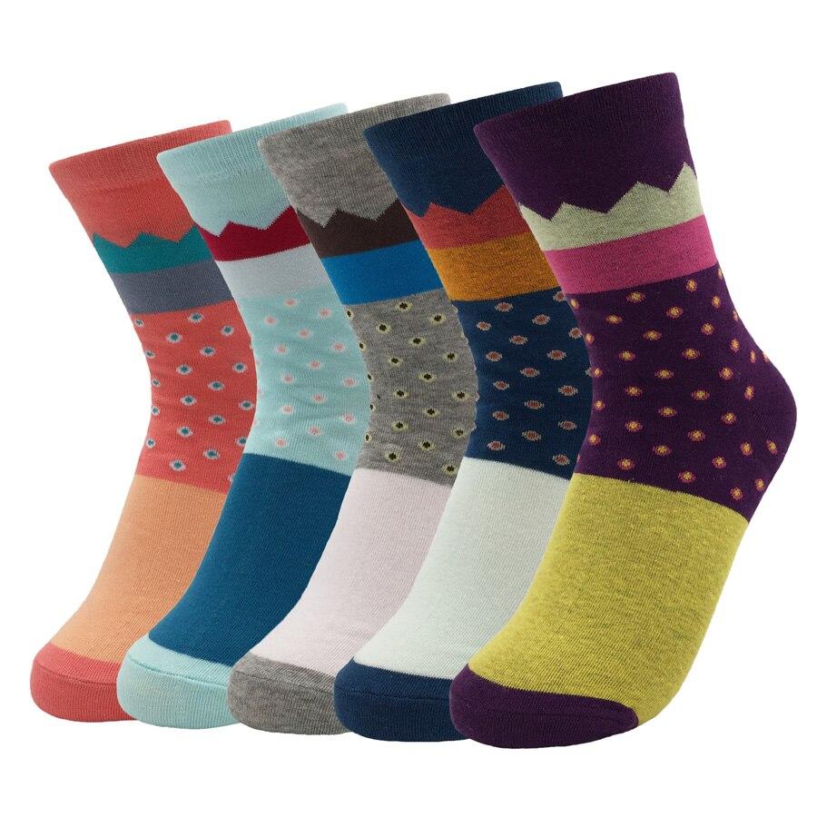 Cotton Woman Cute Socks Colored Compression Non-slip High Quality 2017 Autumn/Winter Fashion Brand Dot Socks 5 Pairs/lot