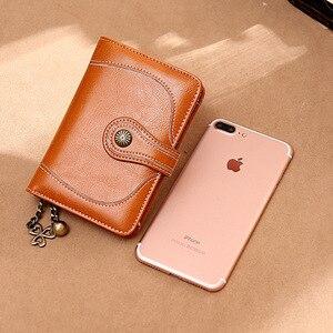 Image 4 - Zency 100% prawdziwej skóry prosty portfel dla kobiet kopertówka wysokiej jakości dużej pojemności portfel etui na karty brązowy