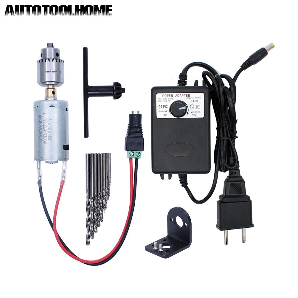12V Mini Electric Hand Drill Kit 0.3-4mm JT0 Chuck With 10Pcs 0.5-3mm Twist Drill Bits Set For Soft Metal Wood PCB Drilling Tool